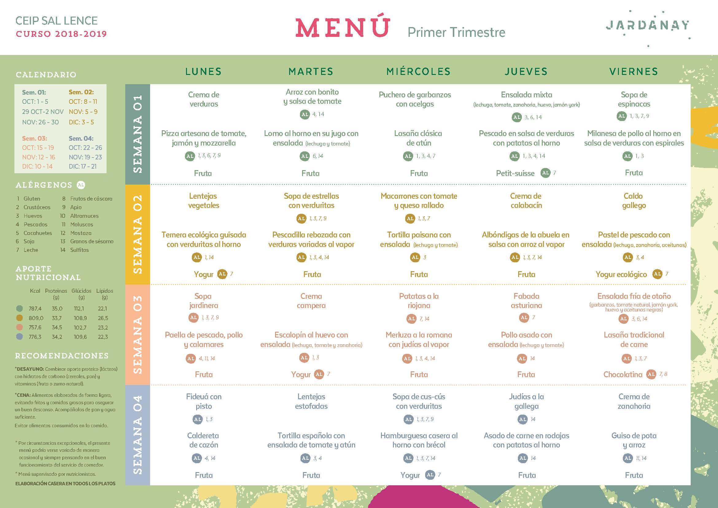 Menú Comedor Primer Trimestre 2018-19 - A.N.P.A. Os Castros