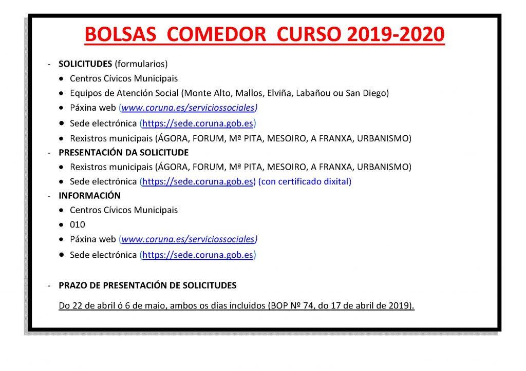 Becas Comedor 2019-2020 | A.N.P.A. Os Castros